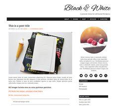 Responsive Self-Hosted Wordpress Theme: Black & White - premade blog template, two column, three column, genesis framework, orange, coral