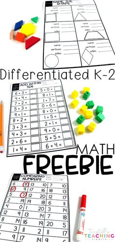 "FREE DOWNLOAD at my TpT Store.  Freebie printable math practice pages, click download now!  This math freebie is differentiated for Kinder, first, and second grade.  These no prep, print and go worksheets include one more, one less, ten more, ten less, 2D & 3D shapes, comparing numbers to 20 and to 120, and addition within 10, 20, 100.  To learn more about ""Math Freebie"", visit www.tunstallsteachingtidbits.com"