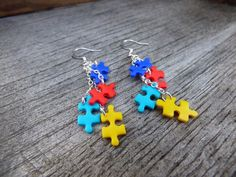 These beautiful autism awareness earrings were made entirely by me, a proud autism dad. Awesome yet tiny handmade polymer clay puzzle pieces in the Puzzle Piece Crafts, Puzzle Pieces, Autism Awareness Crafts, Autism Crafts, Polymer Clay Projects, Handmade Polymer Clay, Autism Jewelry, Is My Child Autistic, Autism