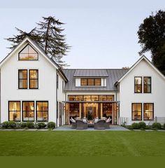 Modern Farmhouse exterior design architecture with black windows
