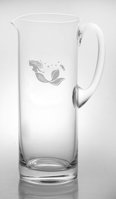 Mermaid Etched Glass Handle Pitcher