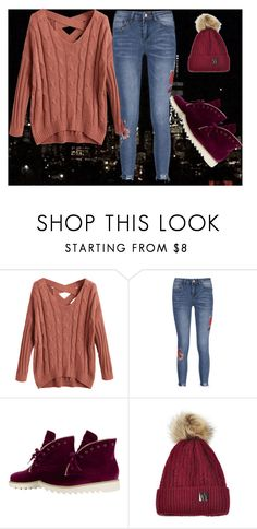 """""""Knit sweater"""" by mirela-alerim ❤ liked on Polyvore featuring Boots, Sweater, knitsweater, velvetboots and rusetredsweater"""