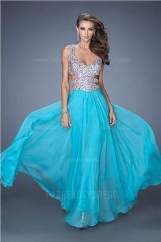 A-Line/Princess V-neck Straps Floor-length Chiffon Sequined Prom Dress