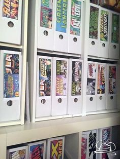A different way of storing comic books other than using the standard boxes.