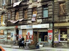A street in the East Berlin area of Friedrichshain a year after the fall of the Berlin Wall