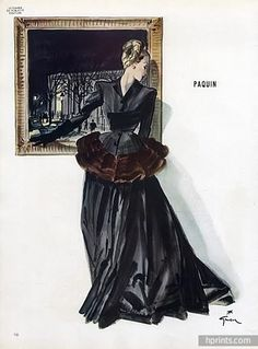 Paquin 1945  Evening Gown, René Gruau Evening Gown Fashion Illustration