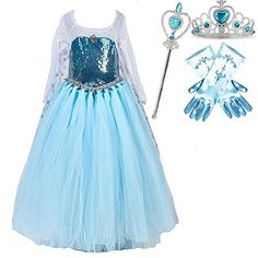Blue Snow Queen Princess Long Cape Tutu Dress Costume Set (3-4) * To view further for this item, visit the image link.