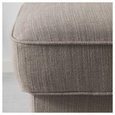 STOCKSUND Footstool - Nolhaga grey-beige, light brown/wood - IKEA Brown Wood, Black Wood, Padded Coffee Table, Ikea Stocksund, Pipe Decor, Ikea Sofa, Box Cushion, Grey And Beige, Polyurethane Foam