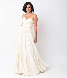 Cream Chiffon Strapless Sweetheart Corset Long Gown da244c88094d