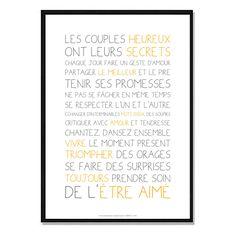Affiche Déco - Texte - Les couples heureux : Affiches, illustrations, posters par affiche-rgb4you