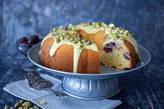 This is a simple cake that's transformed into a stunning cake, fit for the Christmas table. With a pretty Bundt tin design and hidden sour cherries. Dessert Cake Recipes, Sweets Recipes, Desserts, Cherry Bundt Cake Recipe, Sour Cherry, Baking Tins, Moist Cakes, Round Cakes, Cake Tins