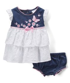 150576c8c15e Nannette Baby Blue Denim   White Eyelet Cap-Sleeve Dress   Bloomers -  Newborn   · Cute Baby Girl ...