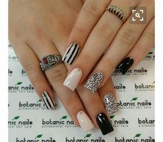 Beige Nails with Black Pattern over Nail Designs – Nail Arts - Most Trending Nail Art Designs in 2018 Beige Nail Art, Beige Nails, Nude Nails, White Nail, Black Nails, Acrylic Nails, Fabulous Nails, Gorgeous Nails, Pretty Nails