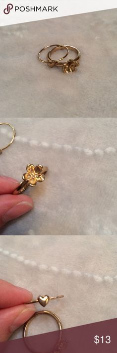Gold flower &a heart rings Show normal signs of wear. I do NOT trade. Let's make a bundle deal! Jewelry Rings