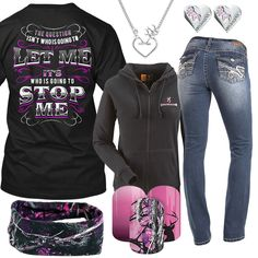 Who Is Going To Stop Me Browning Zip Hoodie Outfit - Real Country Ladies