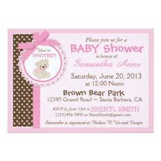 Rosa do chá de fraldas do bebé do urso de ursinho convite 12.7 x 17.78cm