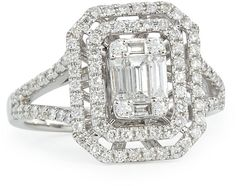 Platinum Heart Emerald-Cut Diamond Ring with Illusion Setting and Double Halos Heart Shaped Diamond Ring, Round Cut Diamond Rings, Emerald Cut Rings, Heart Shaped Rings, Platinum Diamond Rings, Platinum Jewelry, Emerald Cut Diamonds, Diamond Jewelry, Silver Jewelry