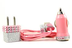 Glamour Pink iphone charger set - also compatible with ipods and ipads. $34.99, via Etsy.