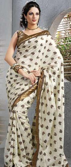 Off White Jacquard #Saree with Blouse @ $50.75 | Shop Here: http://www.utsavfashion.com/store/sarees-large.aspx?icode=sbs371