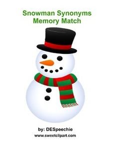 Memory match game using synonyms.  Cute snowman graphics from www.sweetclipart.com for this chilly time of the year.  A fun  game that can be used for both articulation and language groups.A total of 20 3x5 cards,  Just laminate, cut and play.I hope you enjoy my first product.