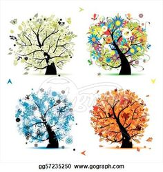 Clip Art - Four seasons - spring, summer, autumn, winter. Art tree ...