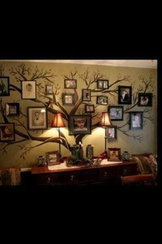Family Tree Picture Frame Wall - Natalie this reminds me of the one you did in the twins room :)
