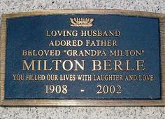 """Milton Berle -  Comedian and actor. As the host of NBC's Texaco Star Theater (1948–55), he was the first major American television star and was known to millions of viewers as """"Uncle Miltie"""" and """"Mr. Television"""" during TV's golden age."""