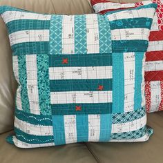 """Day 2  #5in5handmadechallenge  photo 2 of 2  bonus make #scrappy #pillow backed with cuddly #Minky  super belated bday gift for my other nephewhe loves blue and Minky  pattern @canoeridgecreations #freshminiquiltclub finishes 22.5"""" #sewmystash2015 #handmade  inviting @magalin0229 if you'd like to play!  originally tagged by @kidgiddy ... thanks again!  this one lives with @iamcatreading too! #loveher #lovethem"""