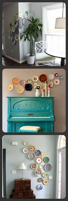never been a fan of hanging plates, but these look nice. i love the hanging plates above the turquoise piano the best. Hanging Plates, Plates On Wall, Plate Wall, Sweet Home, My Living Room, Home Projects, Diy Home Decor, House Design, Interior Design