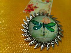 Broche camafeo libélula verde