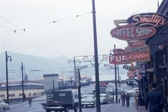 Down by the docks in Vancouver BC 1953 Downtown Vancouver, Vancouver Island, Old Pictures, Old Photos, West Coast Canada, Local History, Back In The Day, Historical Photos, British Columbia