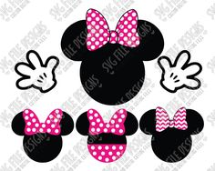 Minnie Mouse Head and Hands Set Cut File Set in SVG, EPS, DXF, JPEG, and PNG
