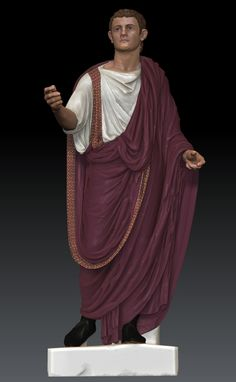 "Brutus will have a deep purple toga to symbolize his guilt of killing Caesar. The ""under"" shirt will be a blood red color to portray how the blood of Caesar stained Brutus."