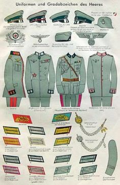 Nazi Army uniforms and ranks Military Ranks, Military Insignia, Military History, Ww2 Uniforms, German Uniforms, Military Uniforms, German Police, German Army, Grade Militaire