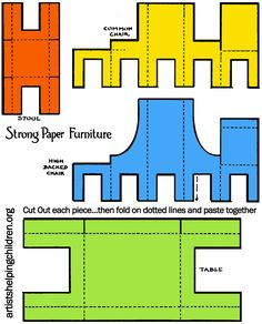 Printable template all furniture colorized 285x175 step How to Make a Paper Doll House Table & Chairs