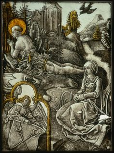 The Self-Mortification of Saint Benedict, about 1496, Designed by Albrecht Dürer, German, 1471-1528, Stained and painted glass , 22.5 x 16.3 cm