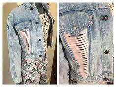 LA Gear JAcket  cutwork pink front  crop by 3GenerationCuration  #vintage #fashion #thrift #jacket #80s #90s #grunge #denim #rad