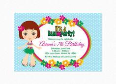 Luau Birthday Party Invitation Luau Invitation Hula Girl