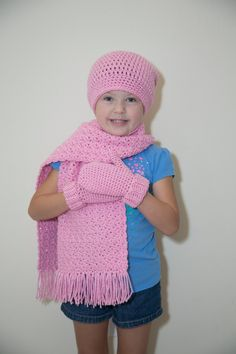 Kids Sparkle  Pink Crochet Scarf, Slouchy Hat and Mittens Set by Mandyssewingroom on Etsy