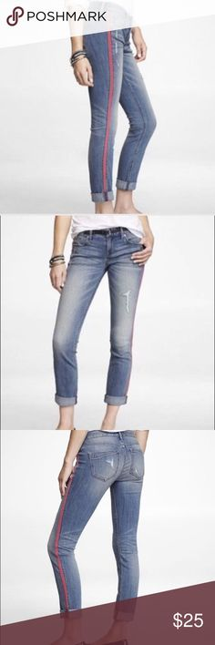 """Side stripe contrast skinny jeans Washed once. Perfect condition ✨ The sexy look of our Stella get a little more sporty thanks to contrasting grosgrain stripes at the side seams. With its well-worn finish and light signs of destruction, this pair is a fresh and fun addition to your days of play. Regular fit, low rise, skinny leg with 28"""" inseam One-button closure with zip fly Five-pocket styling, contrasting side seam stripes Medium wash with fading and destruction, rolled cuffs…"""