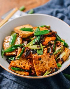 Tofu with Black Bean Sauce – Asiatische Küche vegan – Home Recipe Tofu Dishes, Vegan Dishes, Vegetarian Recipes, Cooking Recipes, Healthy Recipes, Spicy Tofu Recipes, Silken Tofu Recipes, Vegetarian Vietnamese, Bok Choy Recipes