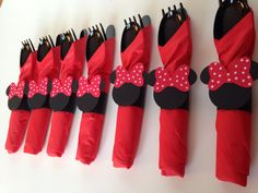 Minnie Mouse Birthday Party Cutlery, Red polka dot wrapped utensils, party supplies, zebra , pink polka dot on Etsy, $12.00
