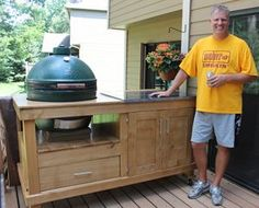 How To Build a Rolling Cart For Your Grill from Woodworkers of America - also see this PDF: http://texd.com/bge-table.pdf