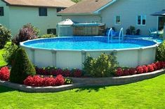 Choose The Best One for Your Above Ground Pool Size! Best Ideas Ever If an in-ground pool is not in your near future, possibly an above-ground pool is the option. Above-ground pool vary from cost-effective models to mor. Swimming Pool Landscaping, Above Ground Swimming Pools, Swimming Pools Backyard, In Ground Pools, Backyard Landscaping, Landscaping Ideas, Patio Ideas, Landscaping Software, Backyard Ideas