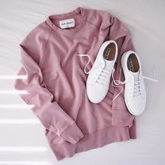 Nude pink sweat shirt with Acne Studios trainers. A perfect combination for women's minimalistic streetwear aesthetic.