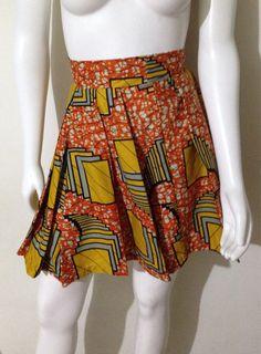 Pleated High Waisted African Print Juniors Skirt 100% VLISCO by AGirlNamedGrey