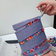"A bit late in getting this video up but here's how I made the ""sprinkle rollercoaster"" cake as a lot of you called it! Cake Icing, Buttercream Cake, Eat Cake, Cupcake Cakes, 3d Cakes, Cake Decorating Videos, Cake Decorating Techniques, Cookie Decorating, Creative Cake Decorating"