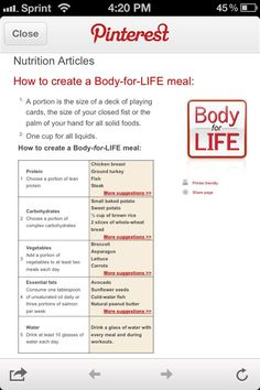 Body for Life - Nutrition Article.  Can't wait to start again on Monday, Feb. 11, 2013.  I lost 50 lbs in 12 weeks in 2001.