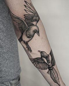 """Fabian Staniec on Instagram: """"Sroczki dla Szymona @pathogentattoo_gdansk @neba.pl @neba.pro #darkart #darkartists #blackwork #blackworkerssubmission…"""" Tattoo Inspiration, Blackwork, Tattoos, Instagram, Style, Tattoo Art, Swag, Tatuajes, Tattoo"""
