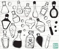 Halloween Potion Clipart - Old science clipart - Halloween scrapbook - steampunk clipart - Witches clipart - glass bottles - Pencil Art Drawings, Easy Drawings, Witch Clipart, Science Clipart, Halloween Potion Bottles, Witch Drawing, Witch Potion, Bottle Drawing, Bottle Tattoo